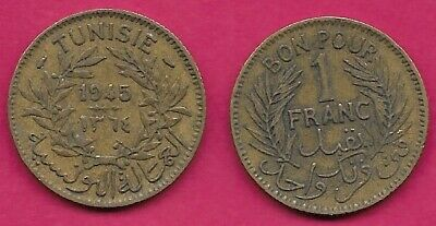 Tunisia French Protectorate 1 Francs 1945 Vf Anonymous Token Coinage,Date Within
