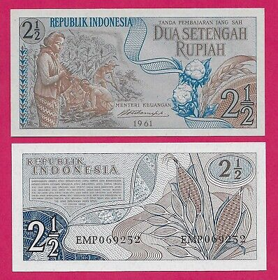 2 1//2 RUPIAH P# 77 of 1961 100 UNC BANDED CONSECUTIVE INDONESIA TWO /& a HALF