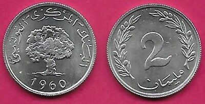 Tunisia 2 Millim 1960 Unc Oak Tree And Date Value Within Sprigs