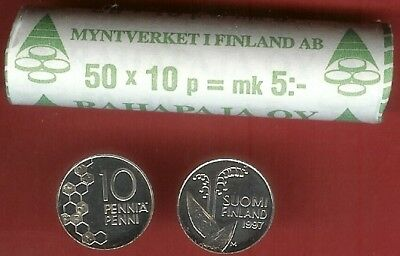 Finland 10 Penni 'A' 1997M Bu Roll 50 Coins,Flower Pods And Sterns,Date At