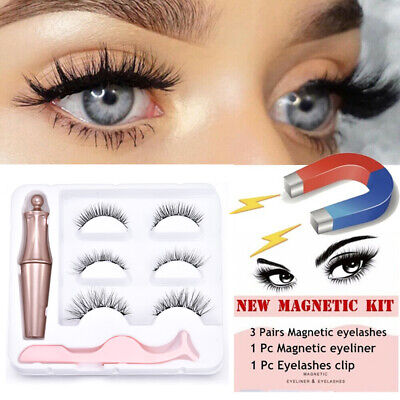 Magnetic Liquid Eyeliner and 3 Pair Magnetic Lashes With Tweezers Set New Design