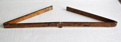 Antique Upson Nut Co Advertising FOLDING RULER Brass & Wood 4 Fold  24""