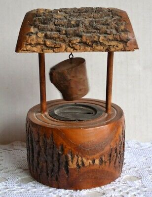 Vintage Natural WOOD WISHING WELL BANK Souvenir Penna GRAND CANYON w/Old COINS
