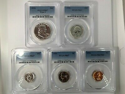Pr67 1956 Type 2  Pcgs Graded Proof Coins Half Dollar Quarter 10C 5C & Penny