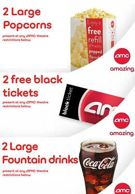 Movie night! 2 AMC Movie Theater Black Tickets, 2 Large Popcorns, 2 Large Drinks