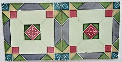 "Antique Glazed porcelain Majolica Ceramic tile 6""x 6"" Art Nouveau Qty-2"