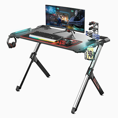 R1-S Gaming Table With LED Lights, Controller Stand, Cup Holder & Headphone Hook