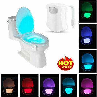 8 LED Toilet Bowl Bathroom Light Motion Activated Seat Sensor Night Lamp#OWN