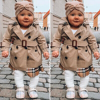 Toddler Kids Baby Girls Trench Coat Jacket Windbreaker Outerwear Winter Clothes