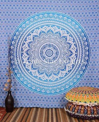 Indian Ombre Mandala Tapestry Decorative Wall Hanging Queen Cotton Bedding Throw