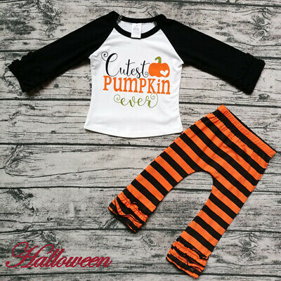 Kids Baby Girls Halloween Clothes Ruffle T-Shirt+Striped Leggings Pants Outfit