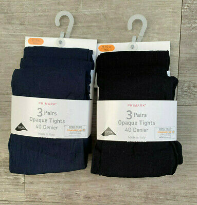3 x Pairs Girls 40 Denier Opaque Tights Back To School Navy Blue Black