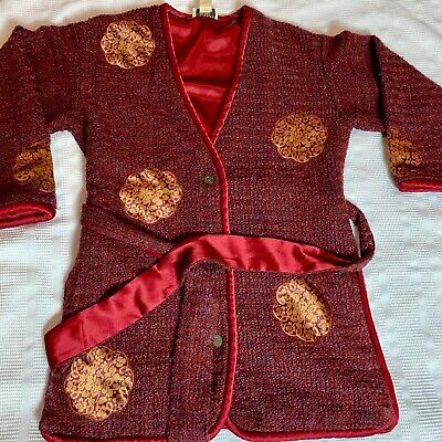 Beautiful Vintage Victoria's Secret Collection Burgundy Robe Sz Small