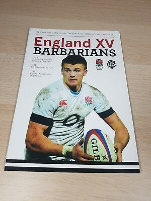 ENGLAND XV v BARBARIANS RUGBY UNION OFFICIAL PROGRAMME 1st JUNE 2014 - Excellent
