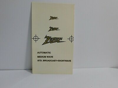 A3      Zenith Radio Decals water soluble