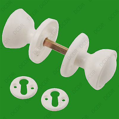 48mm White Plastic Bakelite Mortice 2 Round Door Handle Knobs Set Retro Style