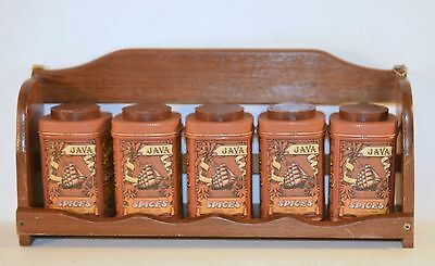 Vintage Wood Spice Rack 5 Tin Box Wall Hanging or Countertop with Labels