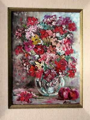 Anita Berger Canadian Impressionist Original Oil Painting FLOWERS WITH PLUMS