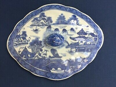 Antique Chinese Export Blue & White Canton Vegetable Dish Cover Only