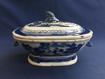 Antique Chinese Export Blue & White Canton Sauce Tureen