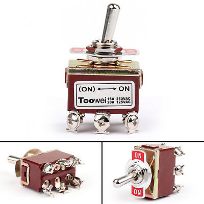 4Pcs Toowei 3 Terminal 6Pin ON-OFF-ON 15A 250V Toggle Switch Lock Grade UE