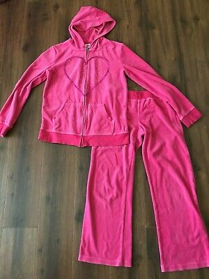 Girls Pink Track Suit by Circo SZ L 10/12 Jacket & Pants w/heart on it