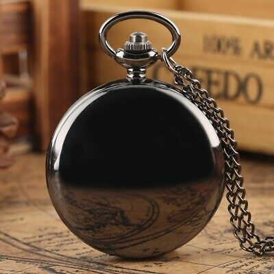 Classic Full Hunter Quartz Pocket Watch Analog with Pendant Necklace Chain Gifts