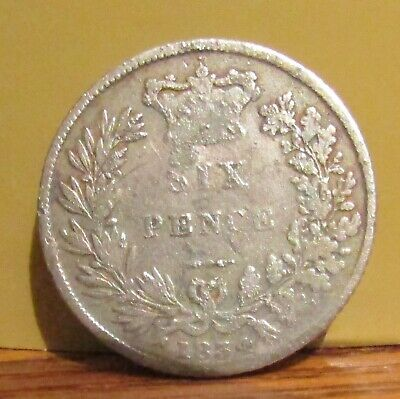 1834 King William 4th Silver Sixpence 6d Coin