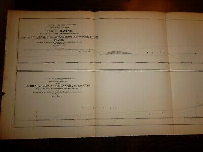 2 PACIFIC RAILROAD SURVEY MAPS 1853  -  40 X 11 Inches Each  -  SIERRA NEVADA