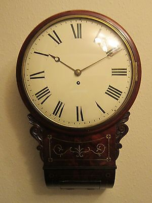 Regency period brass inlaid drop dial wall clock