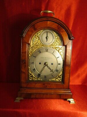 18th century golden flame mahogany double fusee bracket clock