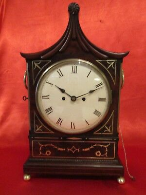 High Regency period mahogany and brass inlay bracket clock
