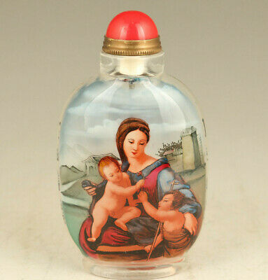 Rare china old glass Hand inside painted maternal love statue snuff bottle