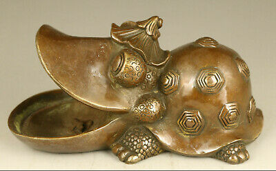 Asian old bronze Handcarved propitious animal statue table home decoration gift