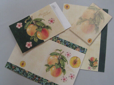 Peaches & Cream Stationary set 12 sheets 8 note cards 10 postcards &18 envelopes