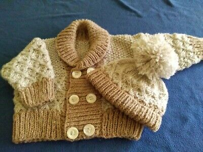 Hand Knitted Aran Cardigan In Oatmeal For 6-12 Month Baby Boy 75