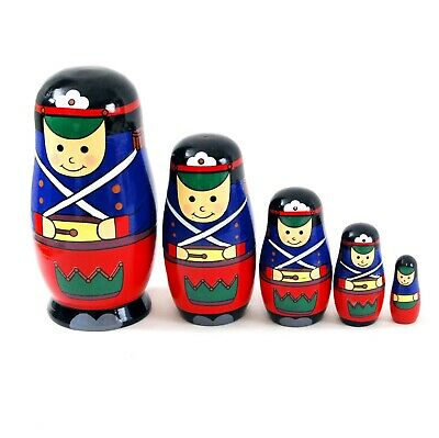 New Wooden Toy 5 nesting Russian Doll - Soldier