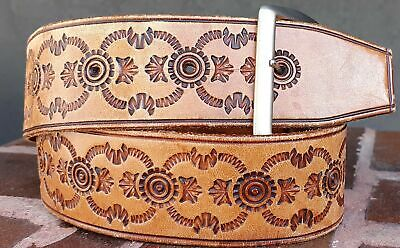 "Tooled leather belt, unisex, 1970's size M, 38.5"" long"