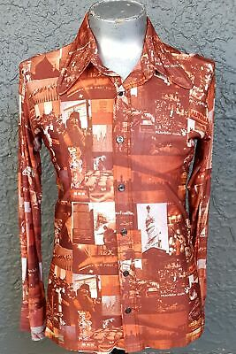 Body shirt, 1970's polyester, Picture print, USA, size M