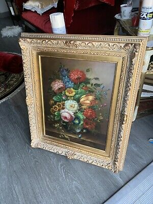 Still life Victorian oil paint antique roses  signed by H. Katz