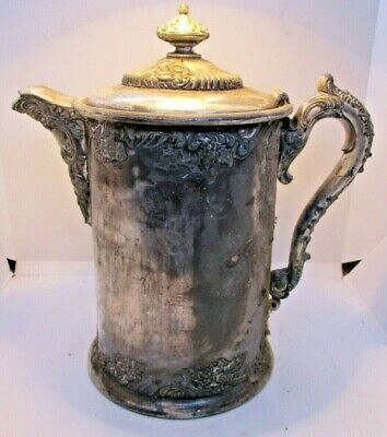 Derby Silver Co. Silverplate Porcelain Lined Water Pitcher Antique 2013 1800's