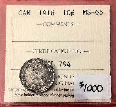 1916 Canada 10 Cent Silver Coin Dime - ICCS MS-65 - SALE!!