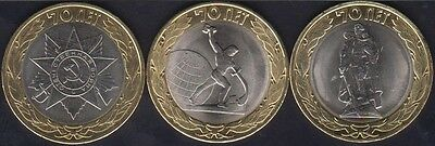SMITH ANG GLOBE BIMETALLIC UNC COIN RUSSIA 10 ROUBLES 2015 70 YEARS OF VICTORY