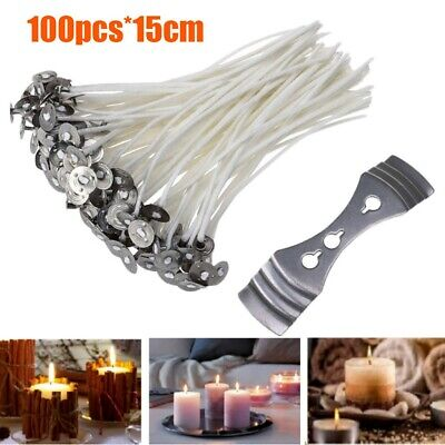 100Pcs Candle Wicks Cotton Core Waxed Wick with Sustainer for Candle Novelt