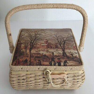 Vintage Sewing Basket Wicker Box Padded Top Rural Winter Town Church Handle