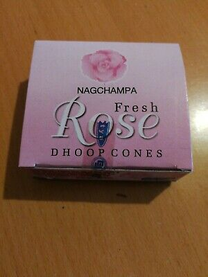 ORIGINAL NAG CHAMPA Incense Fragrance Box FRESH ROSE Incense CONES WITH STAND