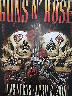 Autographes Guns N Roses Axl Rose Slash Poster - signed in person
