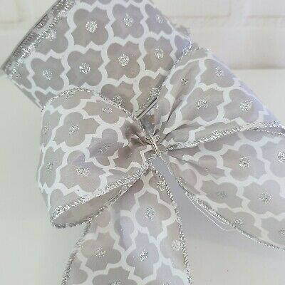Wired Grey Silver & White Christmas Ribbon With Silver Glitter Dots. Xmas Tree