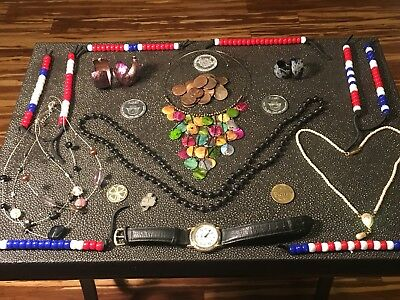 Junk Drawer Lot Old Token Penny Coins Gitano Watch Bead Bracelets Pearl Necklace