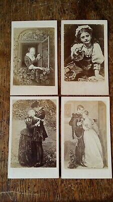 1870'S Lot 4X Original Antique Cdv Photograph - Art Victorian Paintings